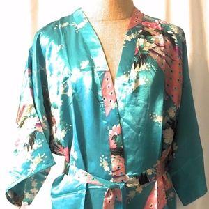 Simplicity One Size Lake Blue Print Silky Kimono